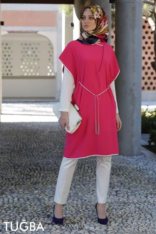 81e427283 اللون الاحمر للملابس القطنية هي موديلات وصيحات اخر موضة لتونيكات المحجبات  كاطقم خروج جديدة وعصرية لعام