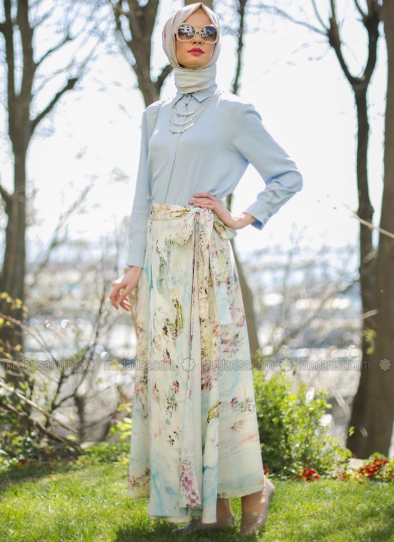 a2ad764b8eabb تنانير المشجرة هي موضة الوان الصيف لملابس المحجبات 2016