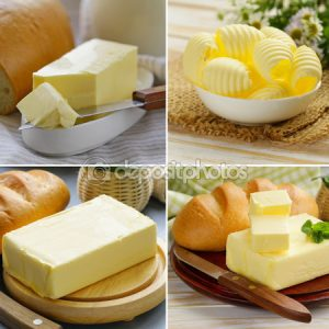 www.fatakat-a.com سكين لتقطيع الزبدة الصفرا9896487-Collage-of-fresh-dairy-organic-yellow-butter-for-breakfast