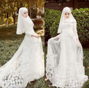 موديلات فساتين زفاف اسلامية صينية 2016