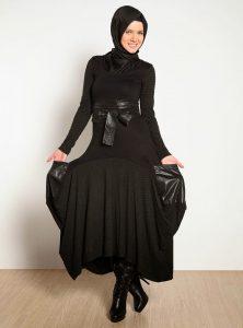 اشكال الحجاب من تنانير وبلايز باللون الاسود العصري لعام 2016