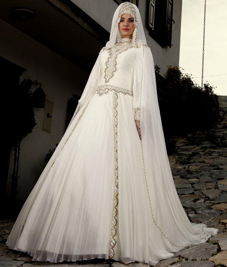 fc22cad1d فساتين زفاف جميلة تركية للمحجبات 2016