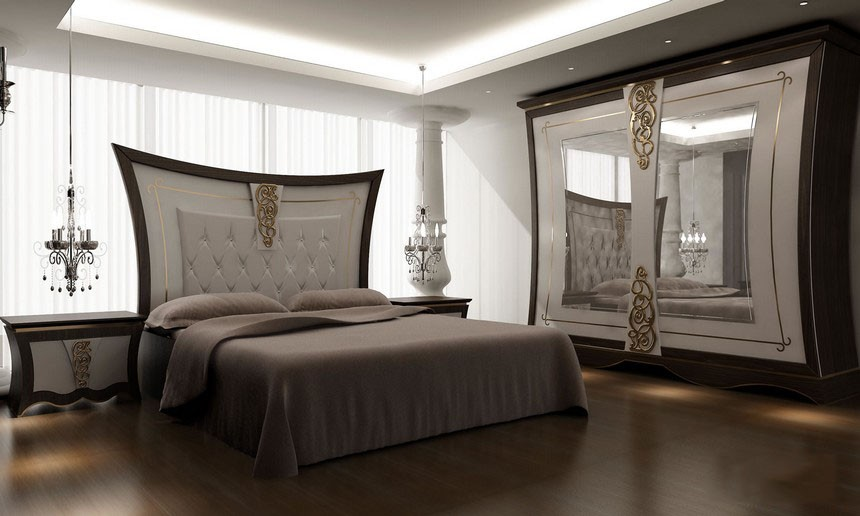 Furniture Modern Luxury Chandelier Bedrooms Designs 2017