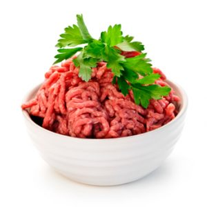 Close up on isolated bowl of lean red raw ground meat