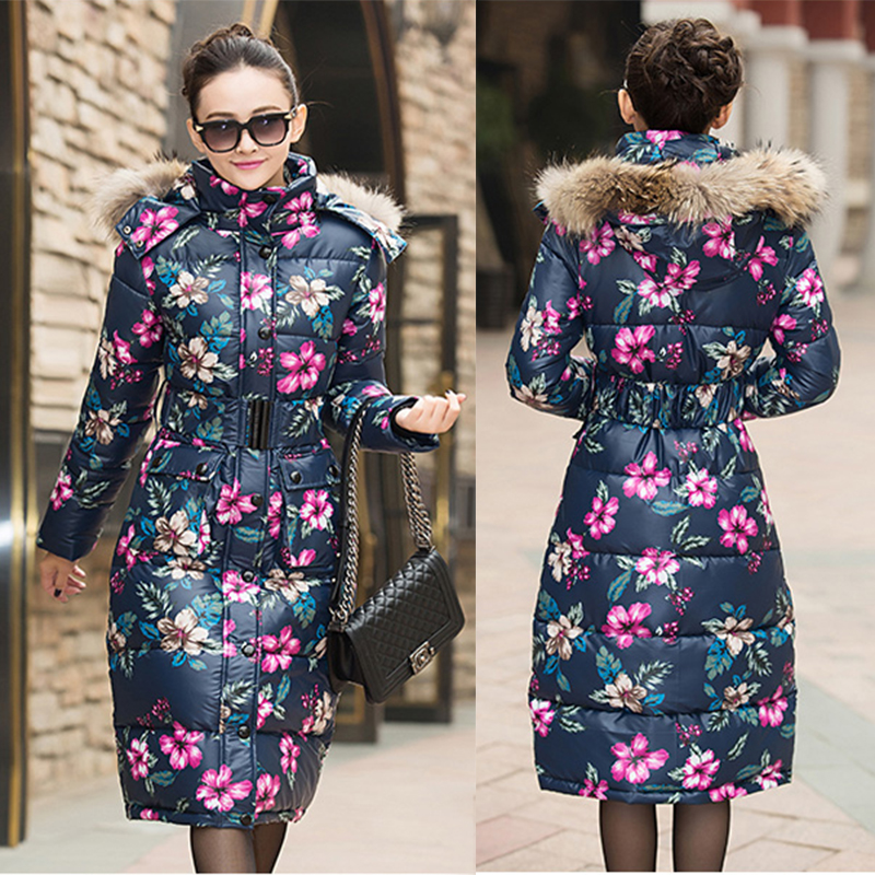2016-Floral-printed-duck-down-jacket-font-b-women-s-b-font-long-thick-slim-font