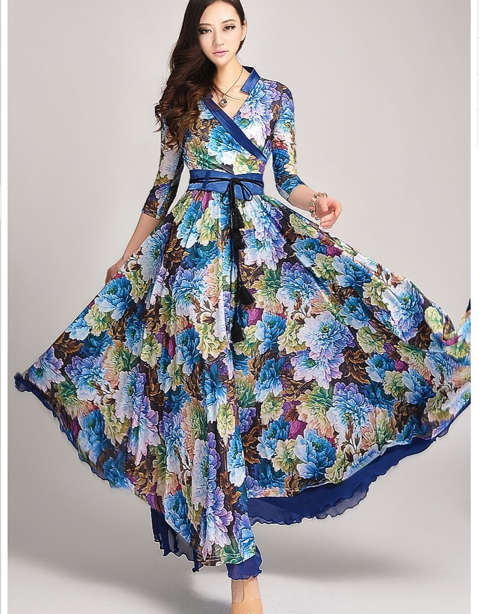 2016-spring-new-arrival-blue-floral-full-length-dress-peony-print-three-quarter-sleeve-ultra-long