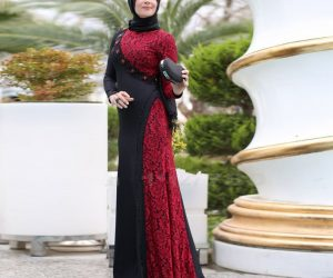 2017-Elegant-Muslim-Evening-Dresses-High-Neck-Long-Sleeves-Beads-Black-and-Red-Lace-Party-Robe