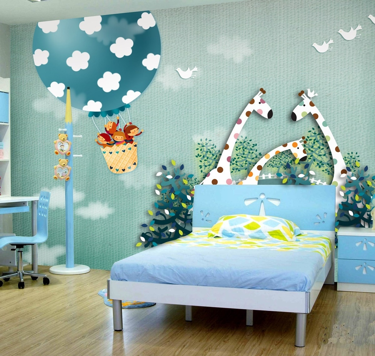 Adorable-Blue-Coral-Colored-Bedroom-which-Implemented-with-Star-Shaped-Pendant-Lamp-Cover-and-Blue-Bed-Sheet-of-Childs-Bed-Room