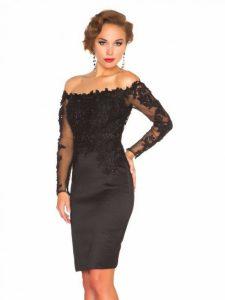 Black-Lace-Long-Sleeve-Short-Evening-Dresses-2015-Formal-Dress-Party-Evening-Elegant-Gowns-robe-de