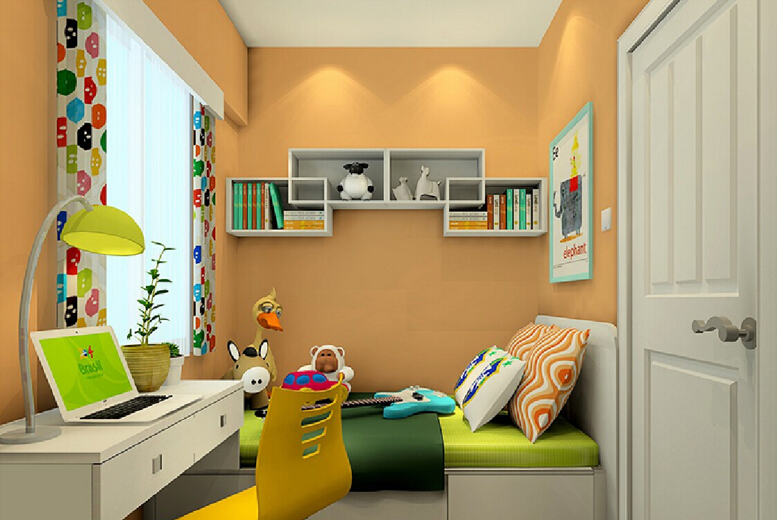 Boys-bedroom-interior-design-with-computer-and-desk-lamp