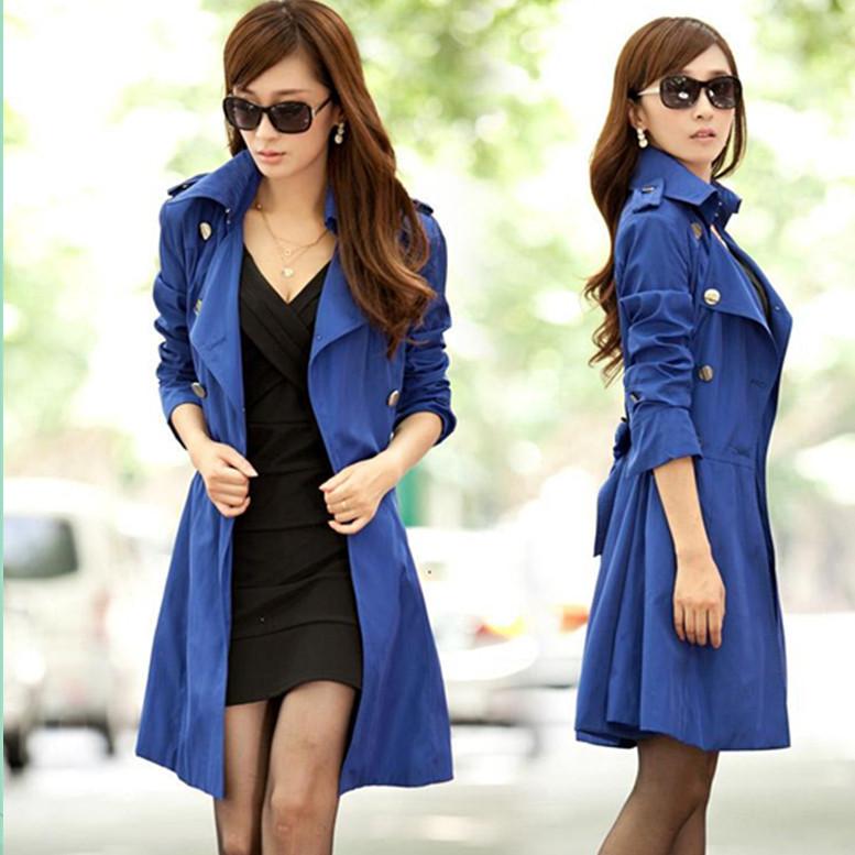 Frauen-Md-lange-Trenchcoat-2015-Neue-Mode-Einreiher-Mit-Gürtel-Taille-Tunika-Faltbare-Unten-Plus-Größe