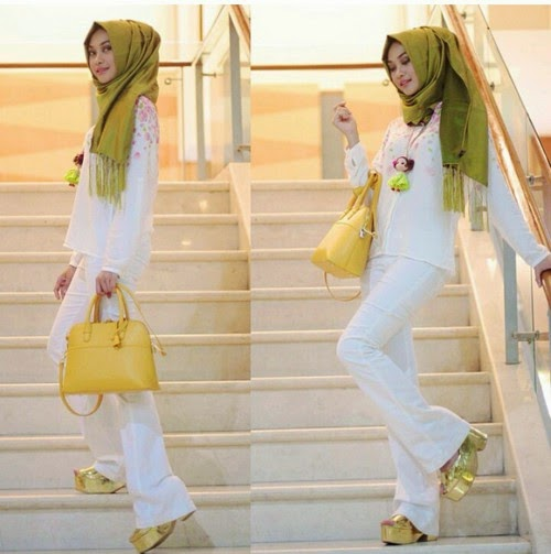 اجمل ملابس محجبات كاجوال للعيد باللون الابيض 2016