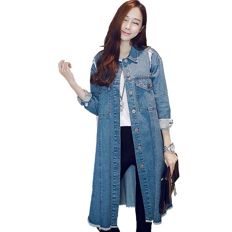 Hohe-Qualität-weiblichen-jeans-ausgefranste-lange-denim-mantel-langhülse-lose-desigual-trenchcoat-für-frauen