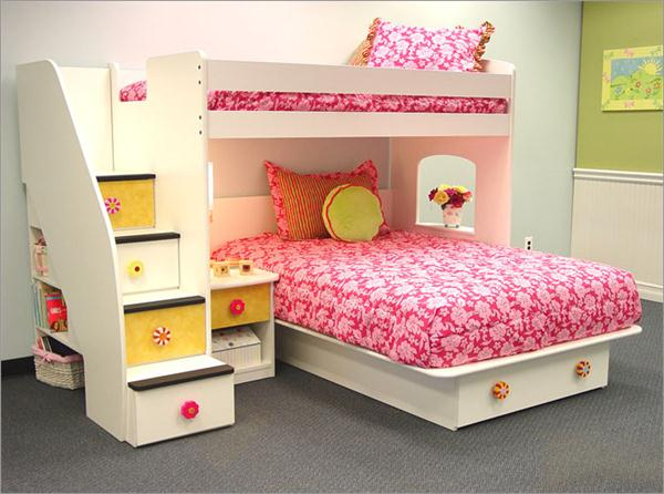 charming-design-ideas-of-children-bedroom-with-white-wooden-bunk-beds-and-stairs-drawers-also-white-pink-colors-covered-bedding-sheets-and-pillow-also-grey-textured-carpet-with-childrens-room-ideas-p