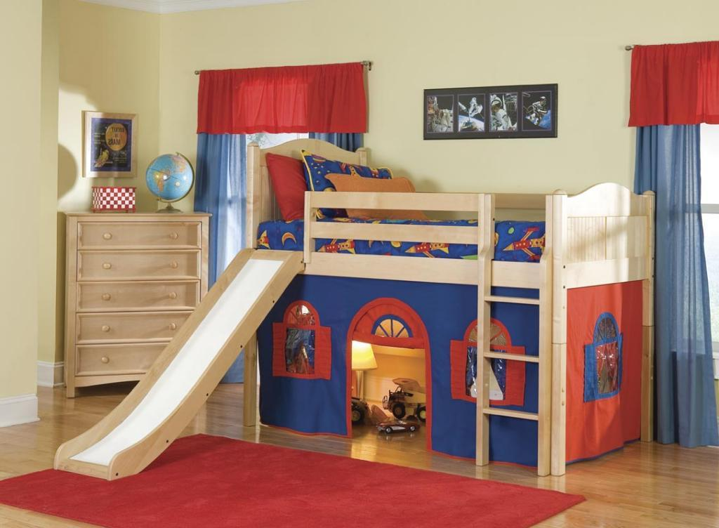 creative-loft-bed-kids-with-camping-resembling-plus-slidding-and-classic-stairs-mixed-with-hot-red-rug
