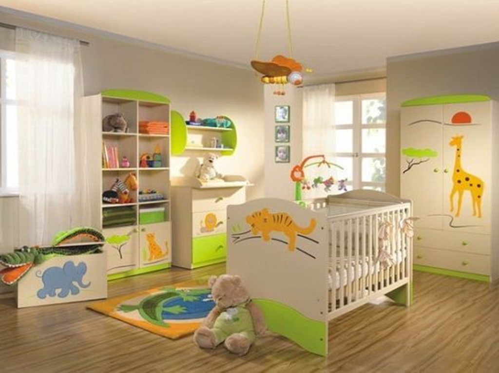 decorations-accessories-bedroom-inspiring-toddler-bedroom-design-with-wooden-vinyl-floor-plus-bunk-bed-with-white-coloured-wood-and-white-mattress-also-patterned-with-cartoon-tiger-on-foot-boar