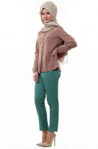 موديلات ملابس محجبات للعيد باللون البني في الاخضر لعام 2015