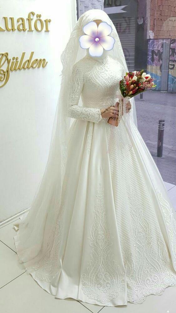 56350b80db220 فساتين زفاف محجبات تصميمات كلاسيك وجديدة 2018