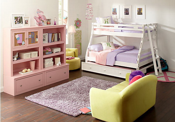 girls-bedroom-ideas-with-laminate-floor-with-bunk-bed-and-cabinet-also-small-sofa-and-fur-rug