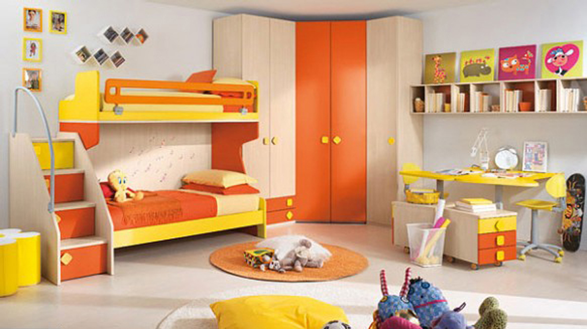 marvelous-custom-colors-children-bedroom-rules-kids-interior-decorating-designs-collection-with-yellow-bunk-beds-also-storage-as-stairs-and-round-rugs-ideas