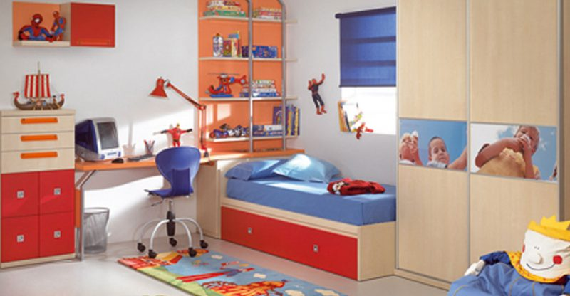 white-wall-color-kids-bedroom-designs-with-cream-and-orange-combine-furniture-blue-bedding-and-drawer-in-below-bed-also-small-window-blue-curtain-at-excellent-interior-design-800x416