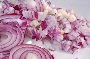 chopped and sliced red onion