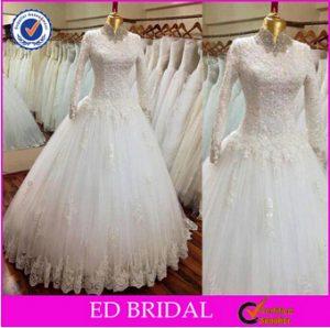 www.fatakat-a.com 2016 فساتين محجبات شيك للبيع للزفاف 2016-Popular-Ball-Gown-High-Neck-Long