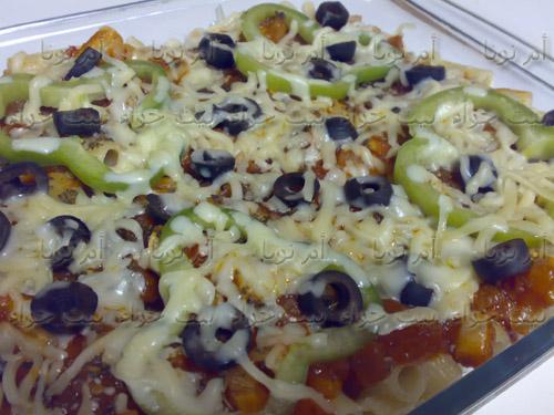 اعداد مكرونة بيتزا بالدجاج بالصور